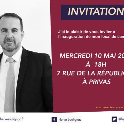 Invitation à l'inauguration de mon local de campagne