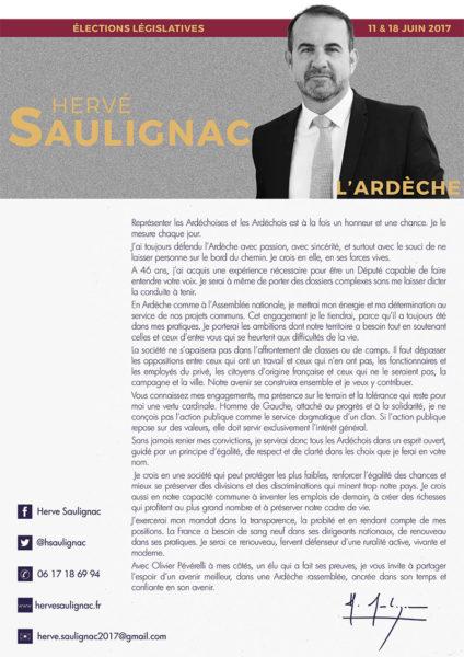 Programme Hervé Saulignac, candidat aux législatives 2017 pour l'Ardèche)