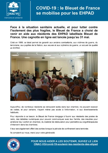 Le Bleuet de France mobilisé pour les EHPAD : Relayez !