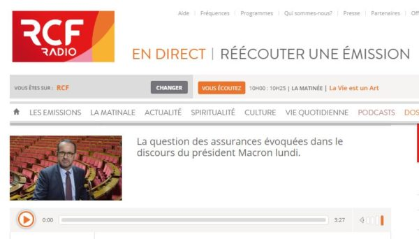 Assurances : mon interview sur Radio RCF