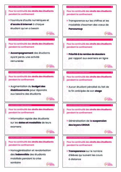 10 propositions pour la continuité des droits des étudiants pendant le confinement