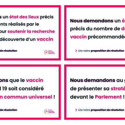 Proposition de résolution pour une stratégie de vaccination anticipée et organisée