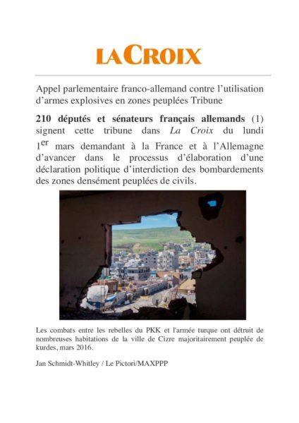 Appel franco-allemand contre l'utilisation d'armes explosives en zones peuplées